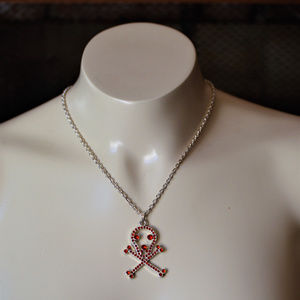 Red Skull and Cross Bones Necklace Pendant